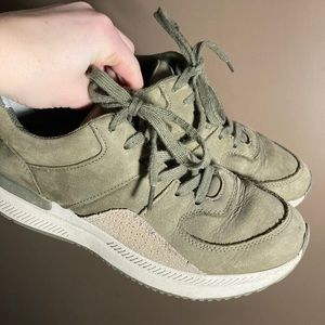 Everlane olive green suede sneakers